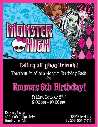 12 PRINTED Monster High Personalized by thenotecardlady on Zibbet