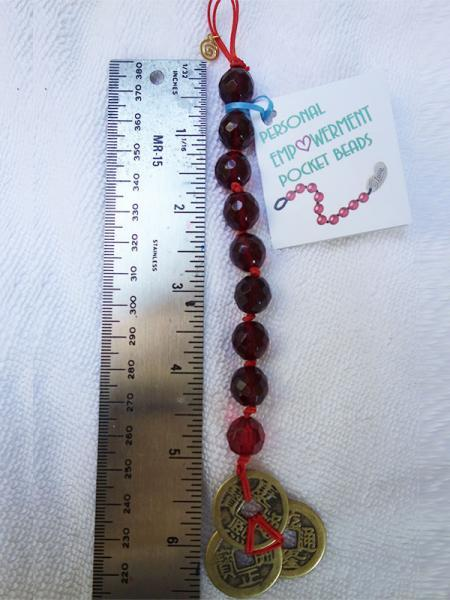 Red Garnet Swarovski Crystals PEP Beads with I-Ching Coins (#S13001)