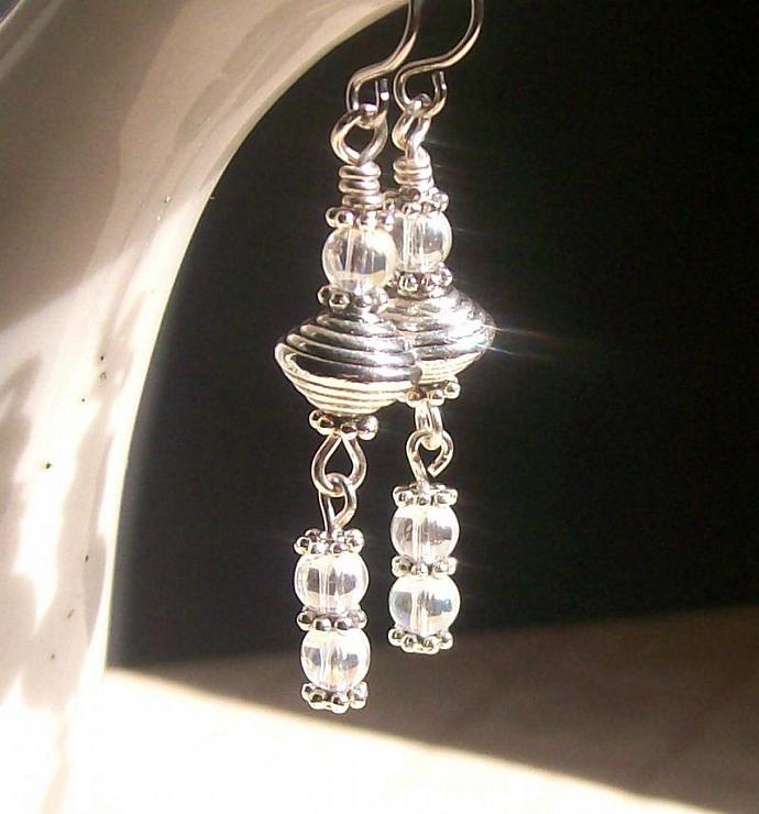 Pewter Beaded Dangle Earrings
