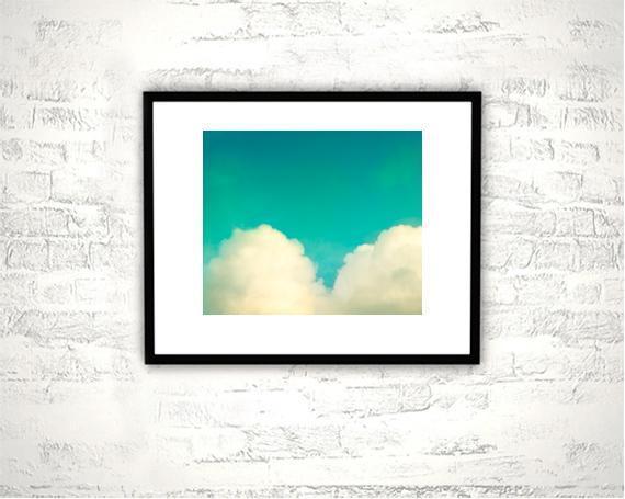 Heart Cloud Photography - 8x10 Love Print - Teal Aqua Blue Turquoise Photograph