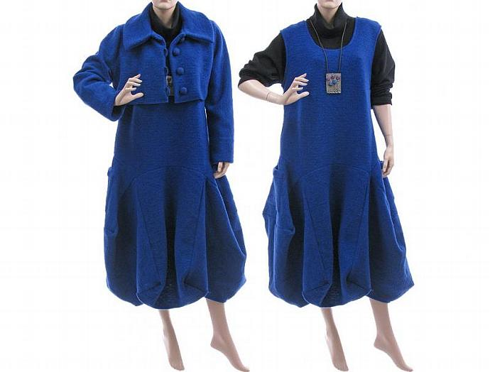 Handmade artsy winter dress with short jacket in cobalt blue / boiled wool /