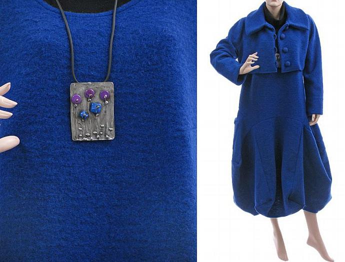 681dede9d3 ... Handmade artsy winter dress with short jacket in cobalt blue   boiled  wool