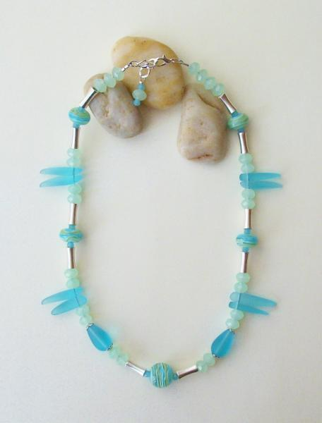 Cultured Seaglass, Crystal and Lampwork Necklace and Earring Set in Turquoise