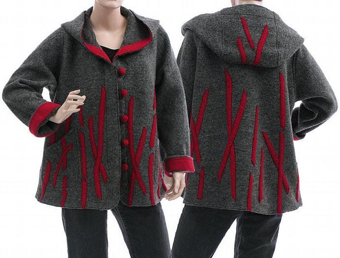 Handmade artsy boho hooded jacket, coat, boiled wool, grey with red / lagenlook