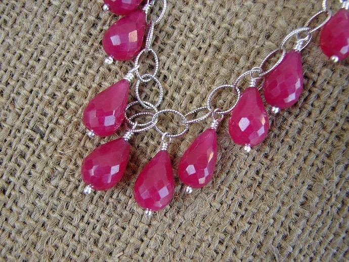 Ruby Briolette Sterling Silver Necklace