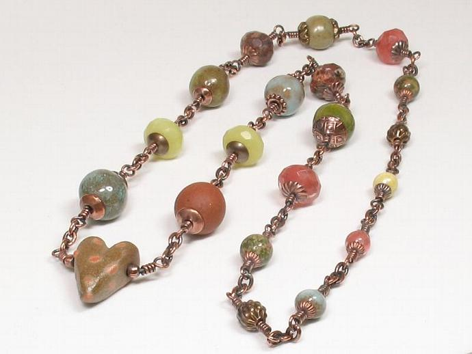 Ceramic Heart Beaded Copper Necklace
