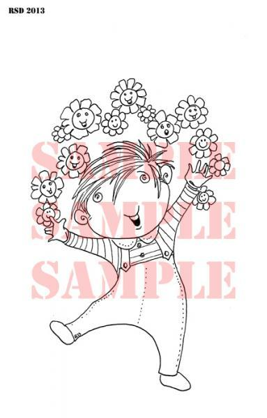 Euro Boy Flower Power Digi Stamp