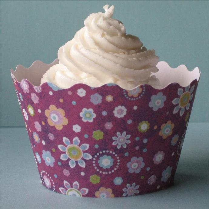 Purple Flower Power Cupcake Cuppy (set of 12) CLEARANCE