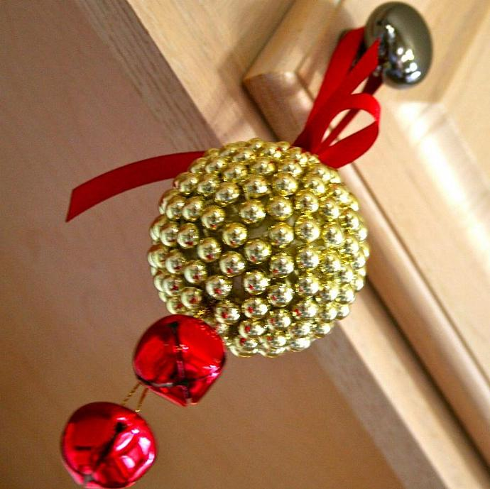 Gold Jingle Bell Kissing Ball