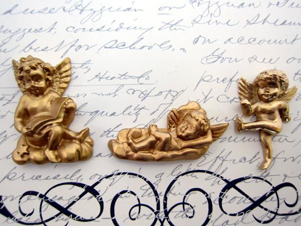 Embellishment Angel Cherub Polyresin Decorative - Gold, White