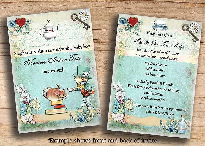 Alice In Wonderland Sip And See Baby Mollyskyinvitations