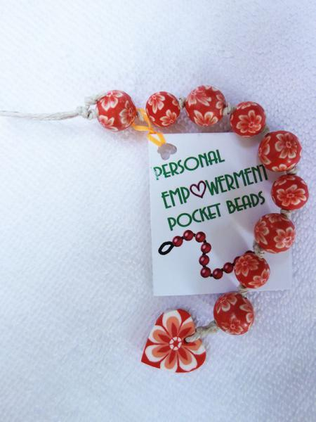 Orange & White Flowered Clay PEP Beads (#CL13006)