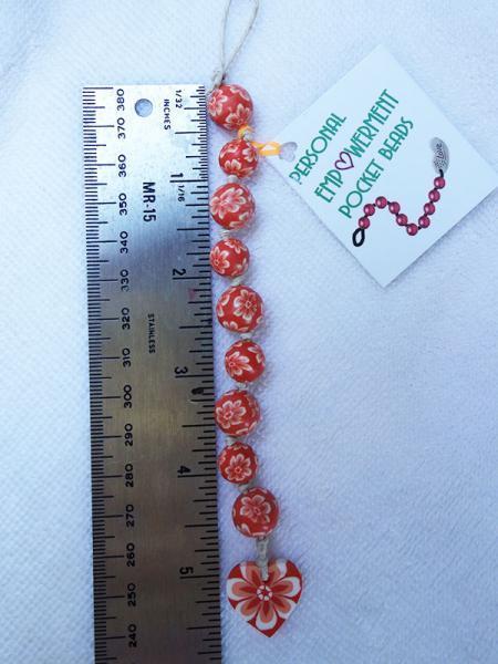 Orange & White Flowered Clay PEP Beads (#CL13006)