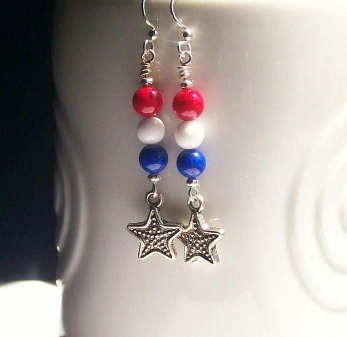 Patriotic Gemstone Earrings, Red White & Blue Beaded Earrings, Dangle Star Charm