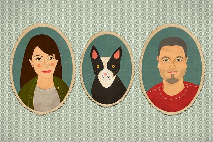 Custom portrait. Bespoke quirky portrait. Family portrait. Family illustration.