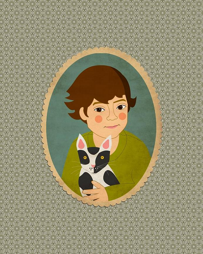 Custom pet portrait, custom cartoon portrait about you and your pet. Whimsical
