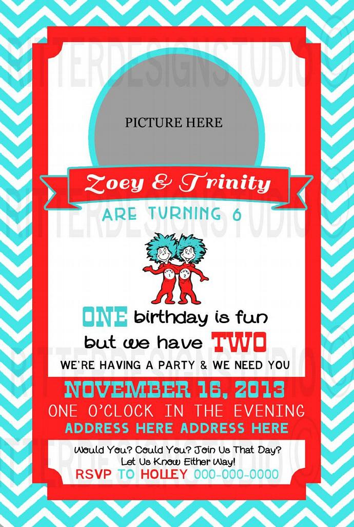 Thing 1 2 Twin Birthday Invitation