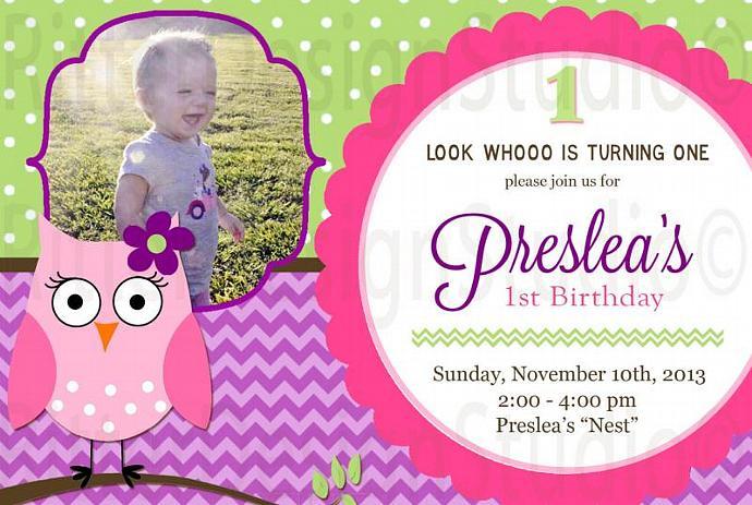 Owl Chevron Birthday Invitation