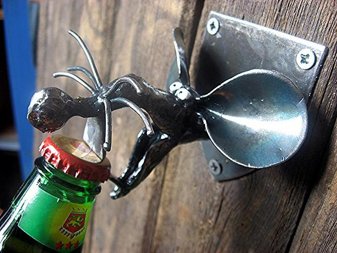 Rat Bottle Opener , Wall mounted and handmade from Recycled Materials