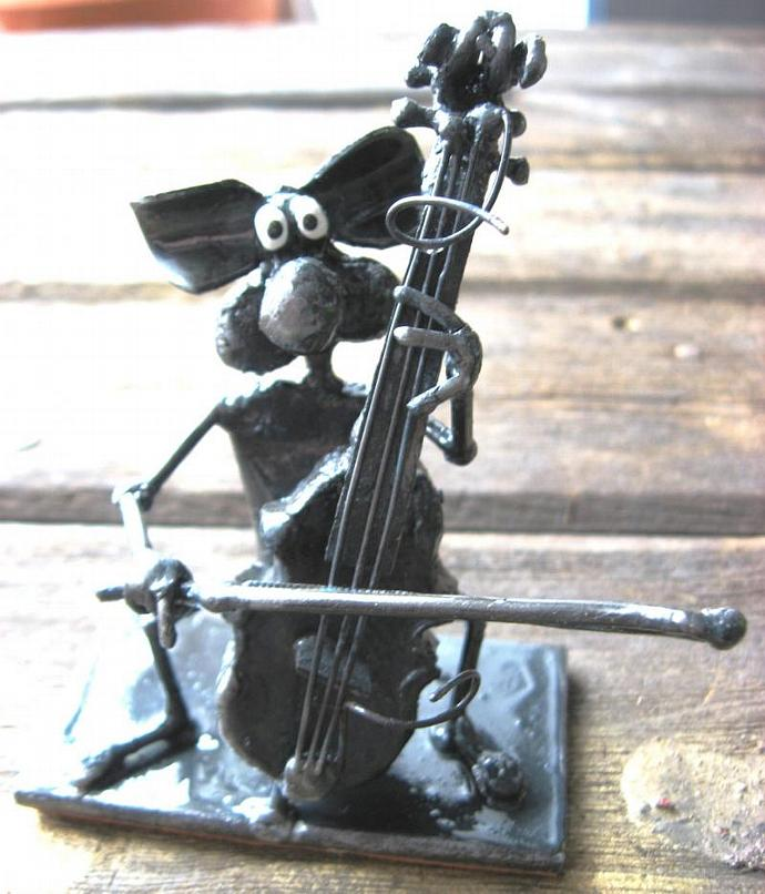 Cello Playing Mouse Sculpture