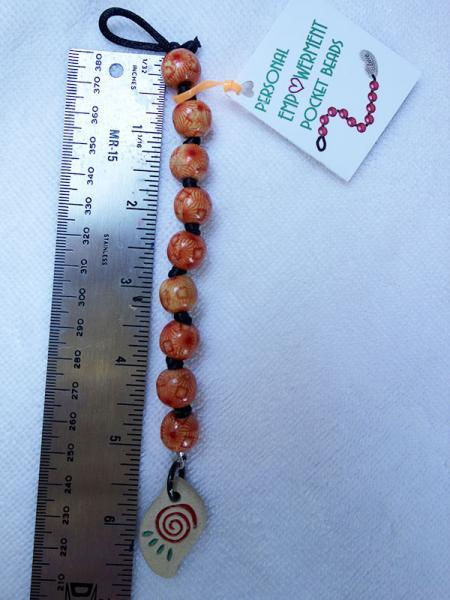 Painted Wood PEP Beads with Clay Spiral fob (#W13006)