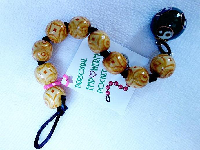 Painted Wood PEP Beads with Chinese Bell Ball fob (#W13009)