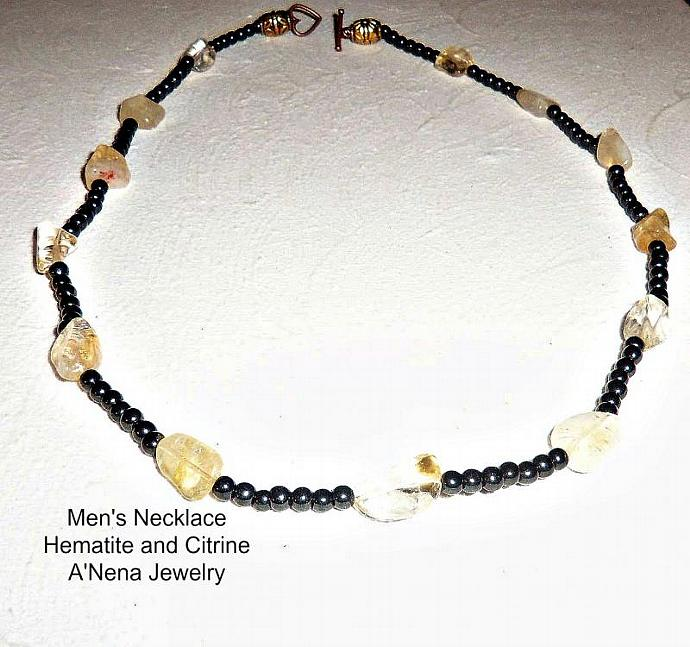 """Men's Hematite and Citrine Necklace """"Success , Prosperity and Balance"""""""