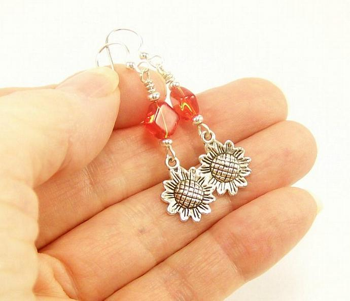 Orange Dangle Earrings with Sunflower Charm, Orange and Silver Beaded Earrings
