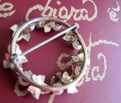 Bridal Wreath Brooch 1950 Mid-Century Antique Elegant Golden Maple Leaves and