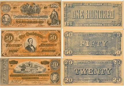 Confederacy Currency 1960 Vintage Funny Money Packet of 5 Bills