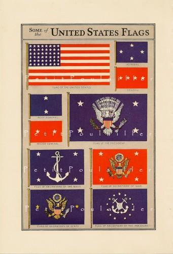 US Government and Military Flags Banners Crests 1935 Antique Lithograph