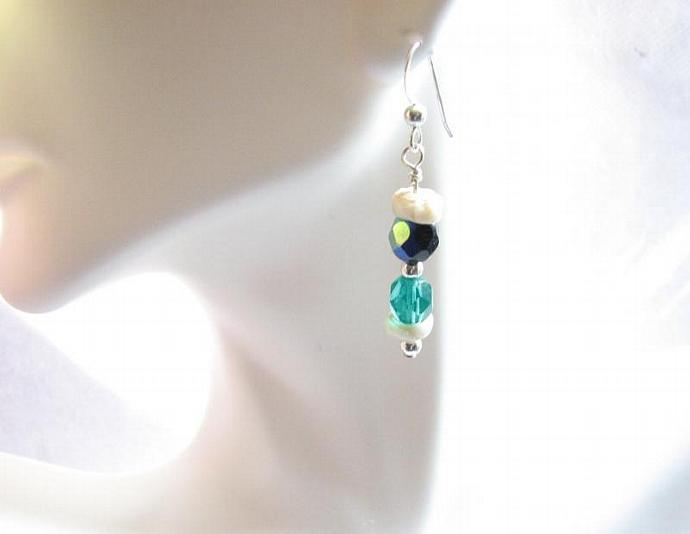 Earrings, Puka Shell and Glass Faceted Beaded Earrings
