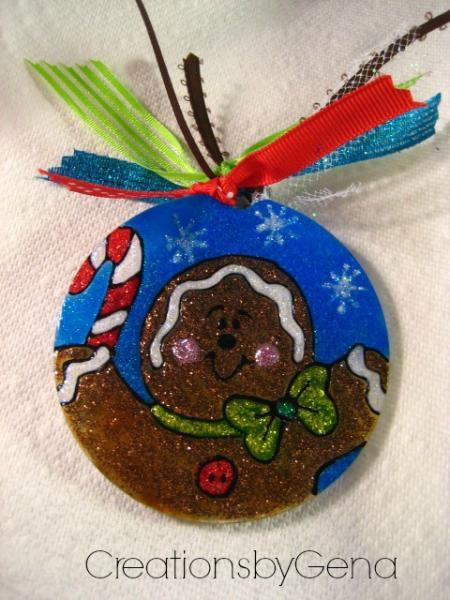 Hand painted Gingerbread man acrylic Christmas ornament
