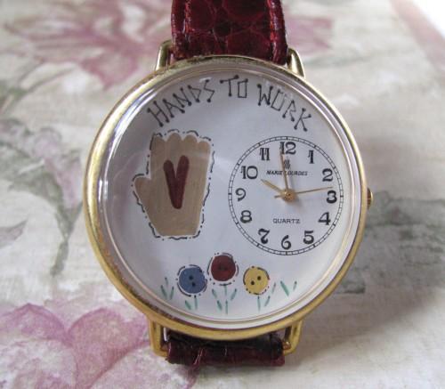 Hands To Work 1980 Marie Lourdes Everon Crafters Folk-Art Vintage Wrist Watch
