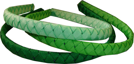 3 Woven Skinny Headbands all Green