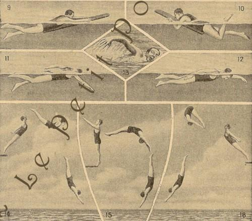 Paris Swimming and Diving Lessons 1916 La Belle Epoque French Sports Antique