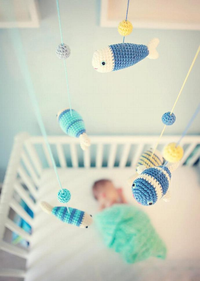 Baby Mobile, Nursery Mobile, Nursery Decor, Fish Decor, Blue, Sea Animals by