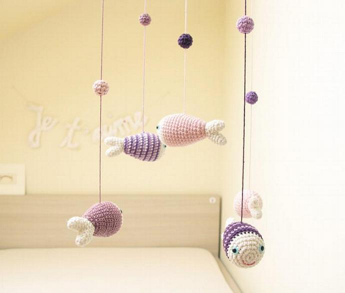 Baby GirlsMobile, Nursery Mobile, Nursery Decor, Fish Decor, Blue, Sea Animals