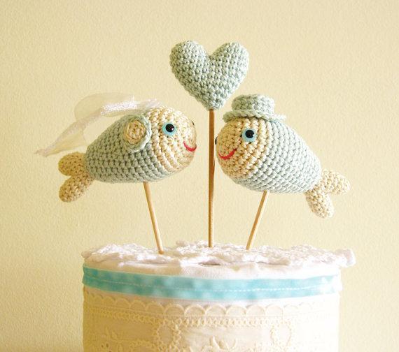 Mint Wedding Cake Topper, Fish Cake Topper, Beach Nautical Decor, Centerpiece
