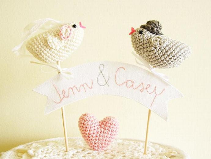 Love Birds, Wedding Cake Topper, Bird Cake Topper, Personalized Banner, Wedding