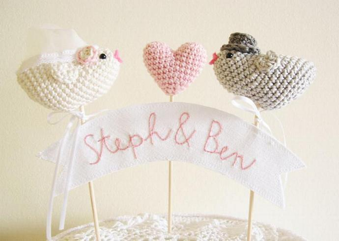 Love Birds, Wedding Cake Topper, Bird Cake Topper, Personalized Banner, Wedding
