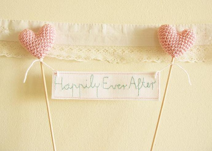 Wedding Cake Topper, Happily Ever After Banner