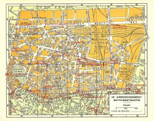Streets of Paris France 1957 Antique Engraved French City Maps, Pkt 18