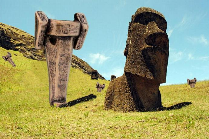 Bronze Greyhound Moai key chain