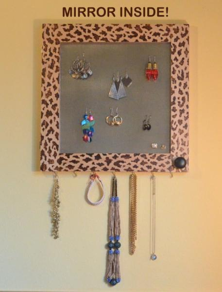 Jewelry Organizer, Storage, Mirror, Earring Organizer, Leopard, Vanity, Necklace