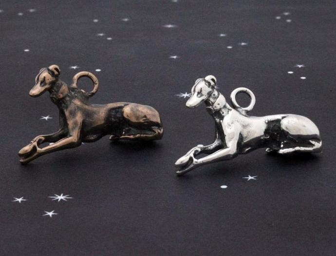 """Graceful Repose"" sterling silver  or bronze reclining greyhound charm"