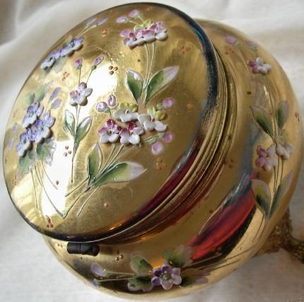 Victorian Bohemian Glass Antique Enameled Jewelry Box or Vanity Box or Treasure