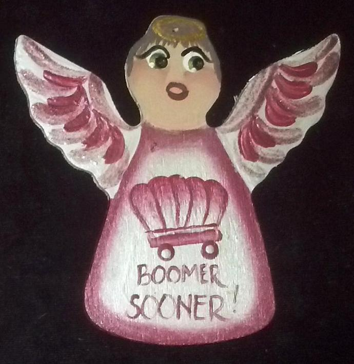 Boomer Sooner OU Wooden Angel Ornament