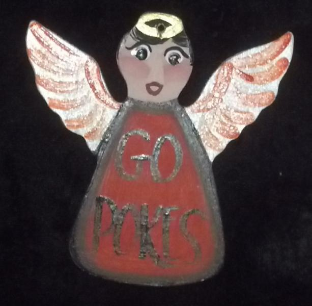 GO POKES OSU Wooden Angel Ornament