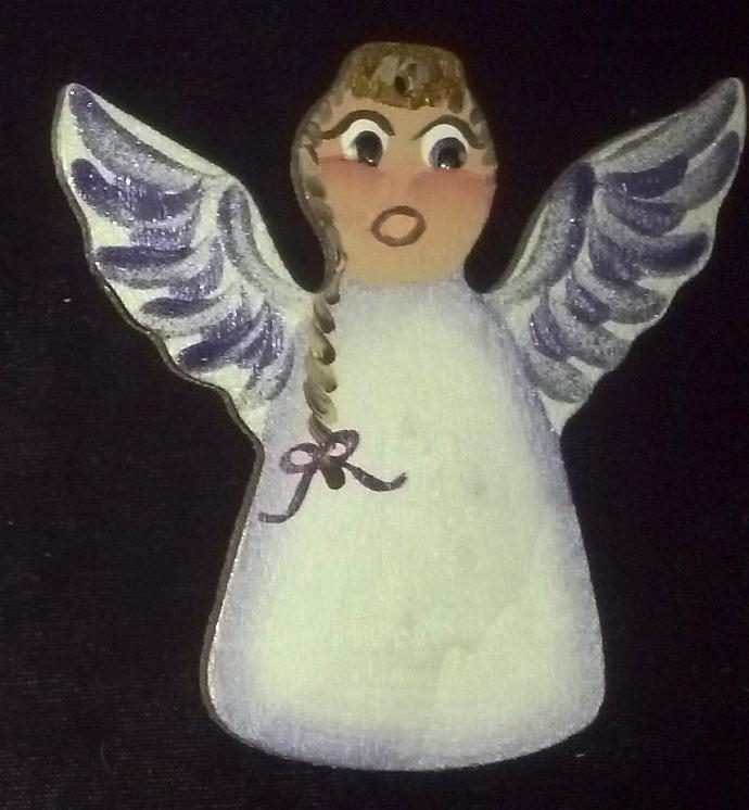 February/Amethyst Custom Hand painted Wooden Angel Ornament -